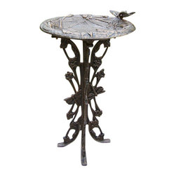 Oakland Living - Oakland Living Butterfly Dragonfly Bird Bath-Antique Pewter - Oakland Living - Bird Baths Bird Feeders and Bird Houses - 5084AP - About This Product: