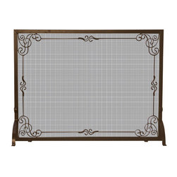 Uniflame - Uniflame S-1615 Single Panel Bronze Finish Screen w/ Decorative Scroll - Single Panel Bronze Finish Screen w/ Decorative Scroll belongs to Fireplace Accessories Collection by Uniflame