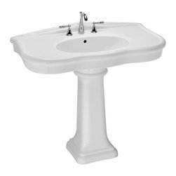 St Thomas Creations - St Thomas Creations 5048.331.01 Parisian Pedestal in White - Pedestal in White  belongs to Parisian  Collection by St Thomas Creations Inspired by the romance of a French drawing in a bygone era, Parisian lends a formal ambiance and unmistakable allure to a bathroom. The curves and contours are graceful - and so very appealing to the eye. This is one of the loveliest ensembles in the St. Thomas Creations collection  Lavatory Pedestal (1)