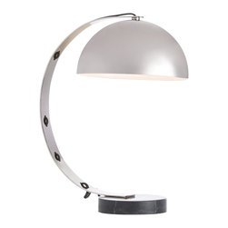 Arteriors - Bond Desk Lamp - We call it a desk lamp, but it works equally well on a nightstand, console, or credenza. The round black marble base anchors the steel curved arm and the domed shade, both finished in polished nickel. Note how the black fabric cord weaves its way up the arm. Marble may vary.