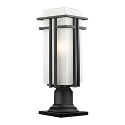 Z-Lite - Z-Lite Abbey Outdoor X-KB-MP335-RBHP945 - The geometric lines of the Abbey family combine well with contemporary home styling as well as homes in the craftsmen style.  This large outdoor pier mount fixture is made of steel  and finished in black with matte opal glass.