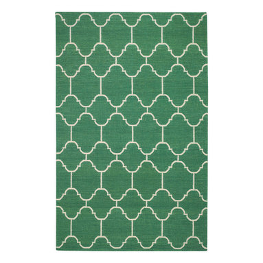 """Arabesque rug in Emerald - """"A classic tile pattern from the middle east and northern Africa, it's one of my go to mosaics in flooring. By switching mediums and using it on a rug gives it new life."""" -Genevieve Gorder"""