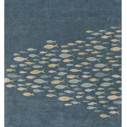 Hand-tufted Transitional Animal Print Pattern Blue Rug (5' x 8') -