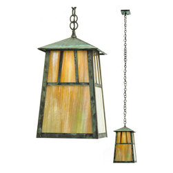 """Meyda Lighting - Meyda Lighting 8"""" Sq Stillwater Double Bar Mission Elongated Ceiling Pendant - The Double Bar Mission Has A Pair Arts And Crafts Style Crossed Bars That Accent This Handsome American Craftsman Lantern Style Pendant. The Fixture, Handcrafted In The USA By Meyda Artisans, Is"""