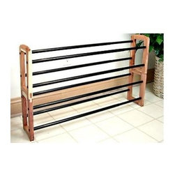 Proman Products - 2 Tier Cedar Shoe Rack in Natural Finish - Shown in 2 shoe rack (not included). 2 Tier. Expandable. Stacking. Black finish hardware. Frame: 6.5 in. L x 11 in. H