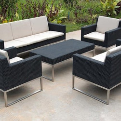 Olivia Contemporary Patio Sofa Set - This Olivia contemporary patio sofa set will be an excellent addition to your indoor or outdoor furniture collections.