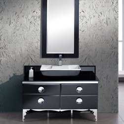 Fresca - Fresca Fresca Moselle 47 Modern Glass Bathroom Vanity w/ Mirror - Featuring an Ebony finish and a glass countertop, the Moselle 47 vanity from Fresca is perfect for those who want to add luxury to their bathroom. Supplied with the ceramic sink and matching mirror, the vanity incorporates plenty of essentials storage space for toiletries. To ensure long lasting durability, this vanity has a steel frame construction. Moselle Bathroom Vanity Details:   Dimensions: Vanity W 47.25 x D 18 x H 34, Mirror 24.38W x 48.5H Material: Steel frame, tempered glass countertop, ceramic sink, Macasser Ebony veneer drawers  Single hole faucet mount Finish: Ebony Includes mirror Please note: faucet not included