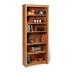 Prepac - 77 in. Bookcase with 6 Shelves - Sturdy MDF backer. Warranty: Five years. Made from CARB-compliant, laminated composite woods. Oak finish. Made in North America. Internal: 29 in. W x 11.5 in. D x 65 in. H. Overall: 31.5 in. W x 13 in. D x 77 in. HUpscale and versatile, this bookcase is a great addition to your study, office or living room. Six shelves serve to organize books, picture frames, decorative accents and more. Group it with others to create a library wall for even more storage. With its attractive and adaptable design, its an invaluable piece in any home.