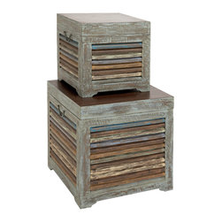 Benzara - Contemporary and Modern Gems Set of 2 Wood Trunk Home Accent Decor - Contemporary and modern gems set of 2 wood trunk living dining and family room home accent decor