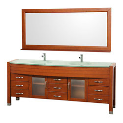 """Daytona Single or Double Bathroom Vanity Sets - The Daytona Single or Double Bathroom Vanity Sets with Mirrors are modern classic with elegant, contemporary lines. This beautiful centerpiece, made in solid, eco-friendly zero emissions wood, comes complete with mirror and choice of counter for any decor. From fully extending drawer glides and soft-close doors to the 3/4"""" green glass, ivory marble or man-made stone counter, quality comes first, like all Wyndham Collection products. Daytona Bathroom Vanity doors are made with fully framed glass inserts, and back paneling is standard. Available in gorgeous contemporary Cherry or rich, warm Espresso. Transform your bathroom into a talking point with this Wyndham Collection original design, only available in limited numbers."""