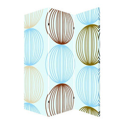 Sphere Screen - Stylish spheres are lined up in a contemporary color palette on this fun privacy screen. Use it as a pop of design in place of traditional art work or put it to work for added privacy in your studio space. The two-sided piece is ideal for your modern lifestyle.