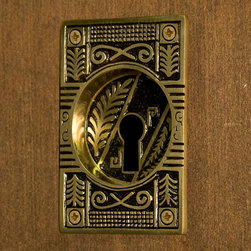Oriental Leaf Recessed Pocket Door Flush Pull with Keyhole - Blackened Brass - Perfect for sliding pocket doors, this flush pull features a unique leaf design and fits flush against the door. Sits flush against your door with a round recession.
