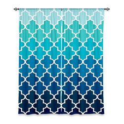 DiaNoche Designs - Window Curtains Unlined by Organic Saturation - Aqua Ombre Quatrefoil - Purchasing window curtains just got easier and better! Create a designer look to any of your living spaces with our decorative and unique unlined window curtains. Perfect for the living room, dining room or bedroom, these artistic curtains are an easy and inexpensive way to add color and style when decorating your home.  This is a tight woven poly material that filters outside light and creates a privacy barrier.  Each package includes two easy-to-hang, 3 inch diameter pole-pocket curtain panels.  The width listed is the total measurement of the two panels.  Curtain rod sold separately. Easy care, machine wash cold, tumbles dry low, iron low if needed.