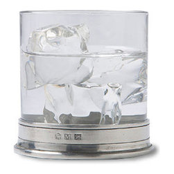 Match - Match Rocks Glass-Set of Two - This rocks glass is made of beautiful clear crystal with a pewter base. This glass is a smaller version of the Match double old fashioned glass and is perfect for brown spirits served neat.