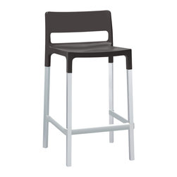 Eurostyle - Divo Counter Chair (Set of 4) - Anthracite/Aluminum - Fiberglass reinforced polypropylene shell