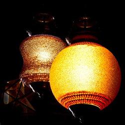 Beautiful Exotic pendant lights - Orange beaded pendant light.
