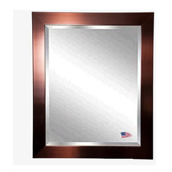 Rayne Mirrors - American Made Shiny Bronze Beveled Wall Mirror - Show some charisma with this attractive industrial style copper bronze wall mirror. The warmth of the bronze compliments the shimmering mirror and makes this design a smart choice for most any style of home decor, in any room.  Rayne's American Made standard of quality includes; metal reinforced frame corner  support, both vertical and horizontal hanging hardware installed and a manufacturers warranty.