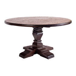 Rustic Home - Austin 60' Round table - Look to our Austin Round Dining Table for sophisticated yet rustic design details. The profile of the pedestal is softened by sweeping curves, while the round top is balanced by the crossed foot. The distressed table top offer cottage charm for your dining room and completes the look.