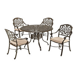 "Lamps Plus - Traditional Floral Blossom Taupe 5-Piece Armchair Dining Set - 5-piece outdoor dining set. Set includes 48"" table and four arm chairs. Powder-coated taupe finish. Cast aluminum construction. Two-tone woven natural color polyester cushions. Hand-applied gold speckling sealed with a clear coat for protection. Attractive patterned design. Nylon glides on legs offer stability. Stainless steel hardware finish. Assembly required. 2"" umbrella hole in table with black cap. Table is 48"" wide 48"" deep 29"" high. Chairs are 25"" wide 26 3/4"" deep 36 1/2"" high.   5-piece outdoor dining set.  Set includes 48"" table and four arm chairs.  Powder-coated taupe finish.  Cast aluminum construction.  Two-tone woven natural color polyester cushions.  Hand-applied gold speckling sealed with a clear coat for protection.  Attractive patterned design.  Nylon glides on legs offer stability.  Stainless steel hardware finish.  Assembly required.  2"" umbrella hole in table with black cap.   Table is 48"" wide 48"" deep 29"" high.  Chairs are 25"" wide 26 3/4"" deep 36 1/2"" high."