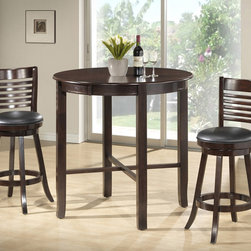 Monarch Specialties - Monarch Specialties 1281-1283 3 Piece Round Dining Room Set in Cappuchino - Enhance the trendy contemporary look of your casual dining area with this sleek  Cappuchino veneer bar height dining table. The counter top table offers ample space for dining or entertaining.