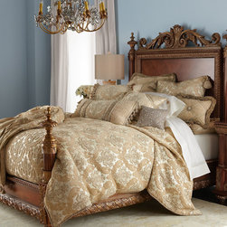 """Horchow - Bellissimo Queen Bed - MAHOGANY - Bellissimo Queen BedDetailsExclusively ours.Crafted of hardwood with decorative resin carving and molding in a mahogany-colored finish.94"""" L x 67""""W. Headboard is 73""""T. Footboard is 41""""T.Imported.Boxed weight approximately 345 lbs. Please note that this item may require additional delivery and processing charges."""