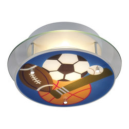 Elk Lighting - Elk Lighting Novelty Sports Semi Flush Mount Ceiling Light X-2/50012 - This Novelty sports contemporary semi-flush mount ceiling light by Elk Lighting fits perfectly in your child's sports-themed room. This colorful lighting fixture, imprinted with an assortment of sports equipment, creates a fun and whimsical atmosphere. It's a wonderful addition to an athlete's room that needs a finishing touch.