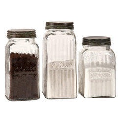 Imax - Dyer 3-piece Glass Canister Set - With a vintage flair,the Dyer glass canisters hold flour,sugar and coffee on any countertop or pantry shelf in style. The canisters are food safe.