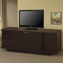 Coaster - 700671 TV Console - This TV stand combines dark ash veneers and clean straight lines to create a totally contemporary classic look. It has four storage drawers with two adjustable shelves. Finished in cappuccino.