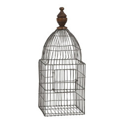 iMax - Videle Wire Birdcage with Wood Finial - The Videle wire birdcage, finished with a decorative wood finial, has a versatile style and a multitude of uses. Fill with moss covered topiary balls, or faux florals. Change the decor for each of the seasons and holidays or add a different style depending on the room you display it.