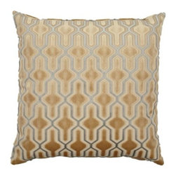 "Z Gallerie - Delancy Pillow 24"" - For the ultimate in opulence, add our luxurious, richly colored Delancy Pillow to furniture pieces to ensure an elegant look. Plush velvet in sand with a complement of Taupe is cut away between the colors to create a raised design. Generously sized at 24 inches square, the pillow contains a sumptuous feather insert."