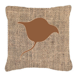 Caroline's Treasures - Stingray Burlap and Brown Fabric Decorative Pillow Bb1094 - Indoor or Outdoor Pillow from heavyweight Canvas. Has the feel of Sunbrella Fabric. 18 inch x 18 inch 100% Polyester Fabric pillow Sham with pillow form. This pillow is made from our new canvas type fabric can be used Indoor or outdoor. Fade resistant, stain resistant and Machine washable..