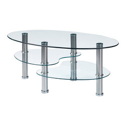 Global Furniture - Global Furniture USA T664CT Oval Clear Glass Top Coffee Table w/ Metal Legs - This modern coffee table is finished with chrome hollow tube legs and glass surfaces.