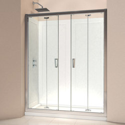 """BathAuthority LLC dba Dreamline - Butterfly Frameless Bi-Fold Shower Door, 58 - 59 1/2"""" W x 72"""" H, Chrome - The Butterfly collection of shower doors offers a beautiful frameless design paired with a space saving bi-fold action. The collection includes two models. One is perfect for a standard size shower space, while the other provides a great solution for a small bathroom renovation. The smart bi-fold action allows the panels to slide and fold creating an ample walk-in opening to maximize space. Wall profiles provide a flexible installation with adjustability for width and out-of-plumb walls."""