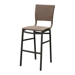 International Caravan - Outdoor Barstool - Set of 2 - Set of 2. Rust free against rain and harsh weathers. Made from pure aluminum and wicker. Antique brown finish. Assembly required. 20 in. W x 20 in. D x 45 in. H (12 lbs.)The Barcelona bar height patio chair is must have for any patio or bar.
