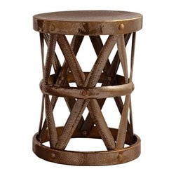 """Costello Accent Table by Arteriors Home - Convex straps of natural iron form an open """"X"""" design in this drum shaped iron side table or stool. The hammered antique brass finish is detailed with matching brass studs."""