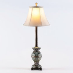 Twilight Buffet Lamp - In an antique brushed silver finish, Twilight Buffet Lamps are beautiful on a dining room sideboard, especially when paired with a Venetian glass mirror overhead.  These carved Twilight buffet lamps are accented with a hint of blue.