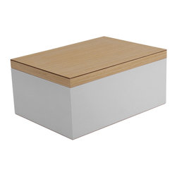 WOLF - Vaxholm Large Jewelry Box, White - The Vaxholm Large Jewelry box is perfect for storing your jewelry and personal items. This jewelry box comes in a variety of fresh and vibrant colors including green, orange, white, aqua, yellow, and dark blue. Each large jewelry box features a vanity mirror behind the lid and a divided lift out tray.