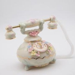 CG - Mini White Antique-Style Telephone with Colorful Flowers Collectible - This gorgeous Mini White Antique-Style Telephone with Colorful Flowers Collectible has the finest details and highest quality you will find anywhere! Mini White Antique-Style Telephone with Colorful Flowers Collectible is truly remarkable.