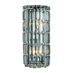"PWG Lighting - Chantal 2-Light 8""D Crystal Wall Sconce 1726W8C-EC - The unique design of the Chantal Collection inspires any room setting. Dazzling spectacles of light sparkles throughout the fixture creating a modern, yet timeless beauty and elegance."