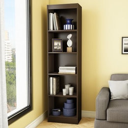 South Shore Axess Collection 5-Shelf Narrow Bookcase - Chocolate - The South Shore Axess Collection 5-Shelf Narrow Bookcase - Chocolate stores a library of books and decorative items without taking up too much floor space. A smart choice for smaller spaces, this bookcase features five levels of open space and three adjustable shelves. It's well-made of durable laminate and has a chocolate brown finish. About South Shore FurnitureA recognized leader in North American furniture manufacture, South Shore Industries was established in 1940 and has been making furniture for three generations. Employing a team of over 1,000 employees in three factories in Quebec, their assembled and ready-to-assemble furniture has a reputation for quality and excellence at affordable prices for today's family.