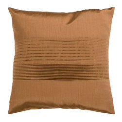 """Surya - Surya Tracks Decorative Pillow - Copper Multicolor - HH021-1818D - Shop for Pillows from Hayneedle.com! About Surya RugsSince 1976 Surya has established itself as one of India's leading producers of fine hand-knotted hand-tufted and flat-woven rugs. Their products are sold in the U.S.A. at respected department and specialty stores. The company is known for its quality value dedication and innovation. This includes responsibility for the entire process - spinning dyeing weaving and finishing. Surya prides itself on using the best raw material available for the production of their rugs. They are proud members of """"Wools of New Zealand."""" From design concept through production a Surya family member is involved making sure that the highest standards are being met at each level. Surya works with top designers and constantly updates their designs and color palettes to match and set the trends in design and fashion for the home. Surya always means a fine choice in rugs."""