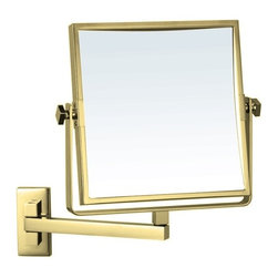 Nameek's - Square 3x Magnifying Mirror, Gold - This 8 inch square makeup mirror has two faces with 3x magnification.