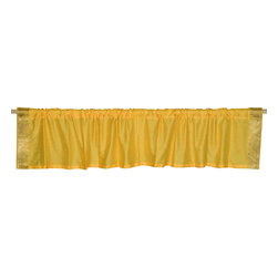 Indian Selections - Pair of Yellow Rod Pocket Top It Off Handmade Sari Valance, 43 X 15 In. - Size of each Valance: 43 Inches wide X 15 Inches drop