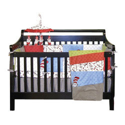 Trend Lab - Dr. Seuss Cat in the Hat Crib Bedding, 4-Piece Set - It's fun to have fun with this Cat in the Hat baby bedding. Dress up the crib with this red, green and blue 4-piece set featuring everybody's favorite Dr. Seuss character. Sweet and soft as can be, you and your little one will delight in these playful cotton pieces whether it's story time or bedtime.