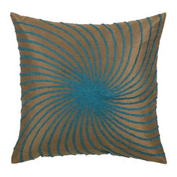 "Rizzy Home - T-3585 18"" Decorative Pillow in Brown / Aqua Blue (Set of 2) - Distinctive and elegant, these decorative accent pillows are versatile enough to be used in any room of the home. Rich hues and textural accents will allow you to add your signature touch and create your own style. Features: -Color: Brown / Aqua Blue. -Material: Poly slub. -100% Siliconized polyester fiber filler. -Zippered pillow cover with poly fill insert. -Dry clean only."