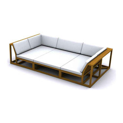 Westminster Teak Furniture - Maya Deep Seat Teak Conversation Set - Another signature design from Westminster Teak, the streamlined modular Maya Daybed Conversation Set consists of 10 select pieces from our Maya Collection.