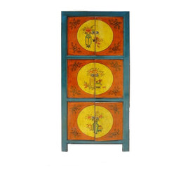 Golden Lotus - Chinese Blue & Orange Vase 3 Shelves Cabinet - This cabinet is painted with blue rim color and orange and yellow doors color. The graphic is simple oriental flowers and vases. The side and back is black color. It is a decorative storage cabinet for the living room or office.