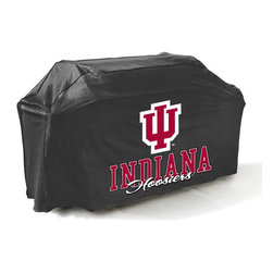 "Mr Bar B Q - Indiana Grill Cover - Indiana Hoosiers Grill Cover.  There's no better way to show off your team pride than this college grill cover. With a huge custom designed logo on the front, you'll be the envy of your neighbors at the next block party or BBQ. Measuring 65 x 25 x 40"" it fits most gas grills but it's more than just a showpiece for your backyard, it's made of high quality materials that will protect your grill from the elements. This cover resists mold, mildew and extreme temperatures. The underside is soft, protecting your grills finish while the outer layer is coated to protect from rain, UV Rays, pollen, dirt and sap, keeping your grill protected throughout the seasons and ready for the next big game!"