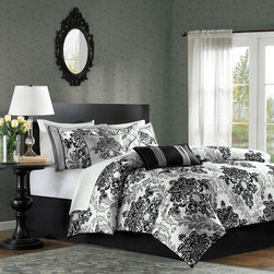 Madison Park - Madison Park Bella 7 Piece Comforter Set - For a more contemporary look, the Madison Park Bella Collection is perfect for your home. Its grey damask print is printed on polyester and paired with black damask flocking for a three dimensional look to this comforter and shams. Three decorative pillows feature piecing and stipe details to complete this look. Comforter & Sham: 100% polyester polyoni print and flocking, 100% polyester brushed fabric back, 270g/m2 poly fill Bedskirt: 100% polyester fabric drop, poly platform; Pillow: 100% polyester polyoni cover with polyester fill