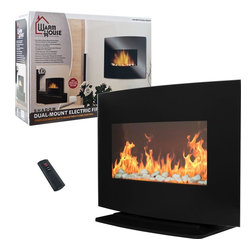 Warmhouse - Black Curved Glass Electric Fireplace Heater - Dual-Mount Glass Black Arched Glass Fireplace/Heater for Use Anywhere. Mounts on Your Wall or Use Freestanding. Realistic Simulated Flames Add Vibrance and Warmth to any Room. 2 Heat Settings: 750 and 1500 Watts. Wireless Remote Control Included (Requires 2 AAA Batteries [Not Included]). Automatic Thermostat Temperature Control. Adjustable Flame Effect Perfect for any Occasion. Plugs into any Outlet for Easy Use Anywhere. Perfect for Large Rooms up to 350 Square Feet. 2 Prong Power Cord is 67 inches Long. Without Base: 6 in. L x 25.5 in. W x 18.125 in. H. With Base: 10 in. L x 25.5 in. W x 19.25 in. HBring the beauty and warmth of a fireplace to your living space with this stunning Warm House Black Curved 2 in 1 Fireplace! Now you'll be able to stay cozy and enjoy all the positive effects of a fireplace without hassle of purchasing or chopping wood yourself. Adding warmth and modern styling to your living space has never been easier than with the amazing Warm House Black Curved 2 in 1 Fireplace. With adjustable flame brightness, two different heat settings and a remote control you can transform any area into the lap of luxury.